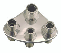 Billet A/C & Heater Bulkhead Rounded Triangle W/ 4 Fittings; Machined Finish - All American Billet 4107