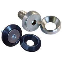 "Billet Fender Washers w/bolts. 1"" O.D. for 1/4"" machine screw. Brushed Set of 5 .WF110-1-5"