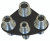 Billet A/C & Heater Bulkhead Rounded Triangle W/ 4 Fittings; Silver Line Series - All American Billet 4107-SL