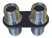 Billet Heater Bulkhead Inline W/ 2 Fittings; Silver Line Finish - All American Billet 4109-SL
