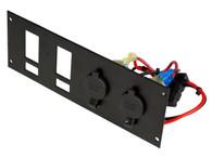 C-LP2-PS2/L - 2 Lighter Plug Outlet W/ 2 Switch Cut Outs & Label Cutouts