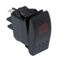 C-SW-1 - Black Paddle Type Rocker Switch, LED Pilot Light, 20 Amps, 12 Volt, On/Off 3 Prong