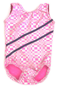 Pink Squares Striped Leotard