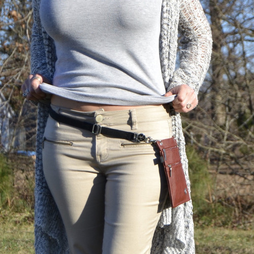 "Oxford Belt: This is why the Oxford Belt was designed... to be worn as a belt. Belt extends 25""-50"". (The 2 Hip Klips and Pocket Accessory add 8"" to the circumference). Model has 26"" waist and 32"" hips. Belt is extended at 27"" in image shown."