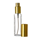 1 oz [30 ml] Clear Square Glass Bottle With Aluminum Gold Spray Lid [72 Pcs]