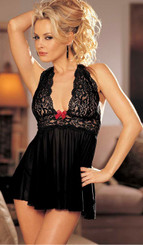 Sexy Black Stretch Mesh and Lace Babydoll with Red Bow