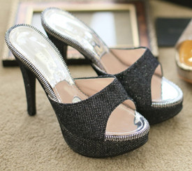 Black Bling Covered Platform Heels