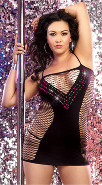 Sexy Private Dancer Black Net Body Dress