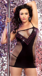 Sexy Private Dancer Black Net Body Dress Queen Size
