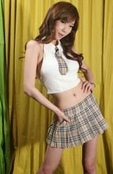 School Girl Tie Sexy Back Costume Beige
