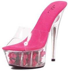 6 Inch Heel Pink Rose Filled Platform Shoes