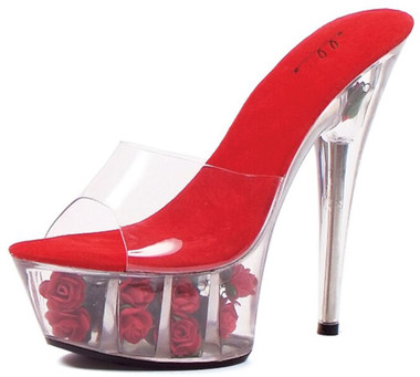 6 Inch Heel Red Rose Filled Platform Shoes