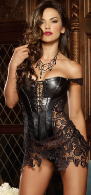 Sexy Faux Leather and Lace Corset