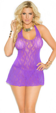 Sexy Halter Top Mini Dress Purple