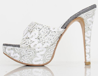 Silver Covered Swirl Heels