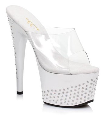 7 Inch Heel White Stiletto Mule With Glitter Dots Platform Shoes