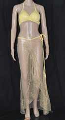 Sexy Yellow Gold Sparkle Long Dress And Bra Set