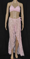 Pink Lace Roses Long Dress And Bra Set