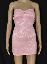 Lace Flowers and Pearls Pink Sexy Dress