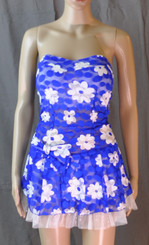 Sexy Strapless Dress Blue With White Flowers Bow