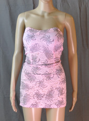 Ocean Swirls Strapless Dress Pink