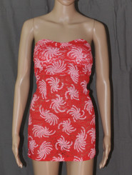 Ocean Swirls Strapless Dress Red