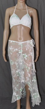 Long Dress And Bra Set White And Lime Flowers