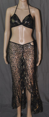 Long Dress And Bra Set Black And Gold Dream Catcher
