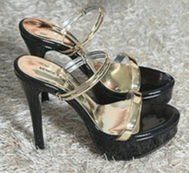 Classy Black Platform Heels With Gold Strap
