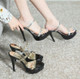 Classy Black Platform Heels With Gold Strap Also With Silver Strap