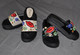 Red Lips Kiss Slippers Cream and Black