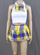 Lace Frills Yellow Tartan School Girl Outfit