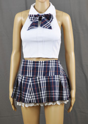 Lace Frills Navy Tartan School Girl Outfit