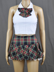 Lace Frills Black Tartan School Girl Outfit