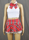Lace Frills Red Tartan School Girl Outfit
