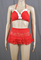 Red Lace Roses Two Piece Outfit