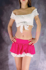 WHITE TIE TOP AND HOT PINK LAYERED SKIRT SET