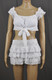 White Roses Tie Top And Layered Skirt Set