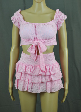 Pink Twirls Tie Top And Layered Skirt Set