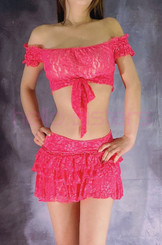 HOT PINK TIE TOP AND LAYERED SKIRT SET