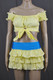 Yellow Tie Top And Blue Band Layered Skirt Set