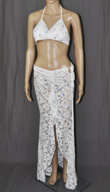 White Flowers With Bling Long Dress And Bra Set