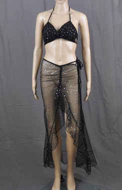Black With Bling Long Dress And Bra Set
