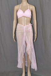 Pink With Bling Long Dress And Bra Set