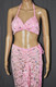 Pink Flowers With Bling Long Dress And Bra Set
