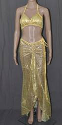 Golden Cheetah Long Dress And Bra Set