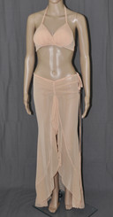 Skin Tanned Long Dress And Bra Set