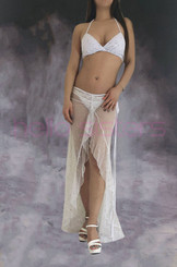 Rainbow Bling White Long Dress And Bra Set