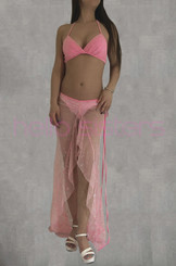Rainbow Bling Pink Long Dress And Bra Set