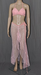 Pink Bling Stars Long Dress And Bra Set